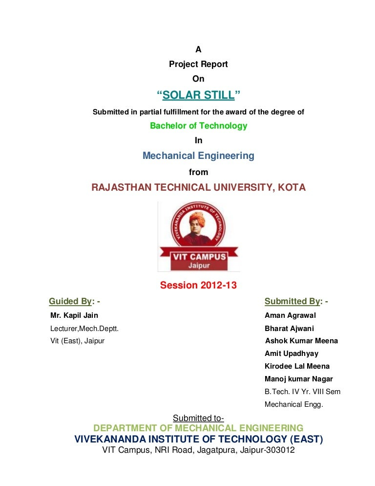 Solar still,A water Purifying Technique Project Report