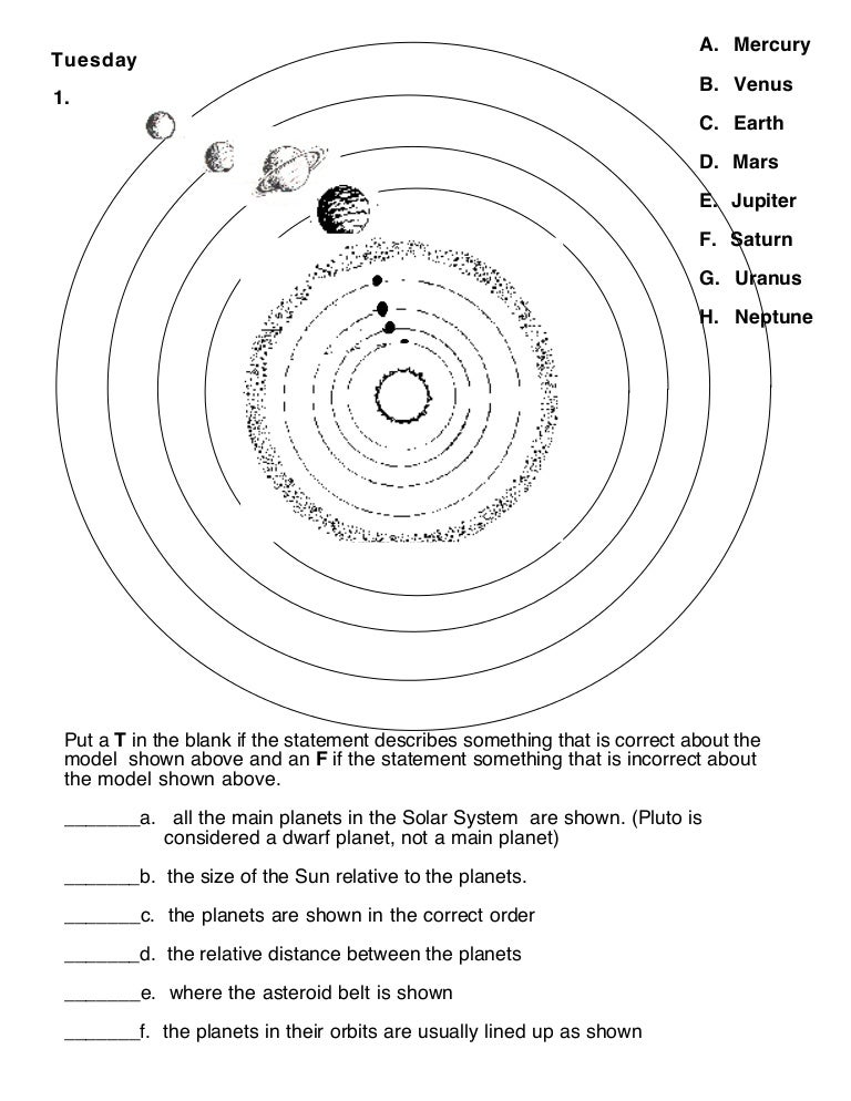 Solar system learning activities (Worksheet)