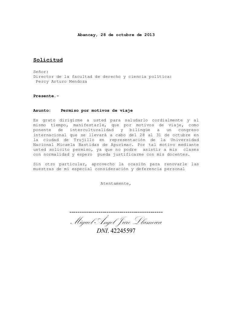 solicitud por moyivos de viaje