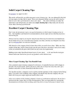 Solid Carpet Cleaning Tips