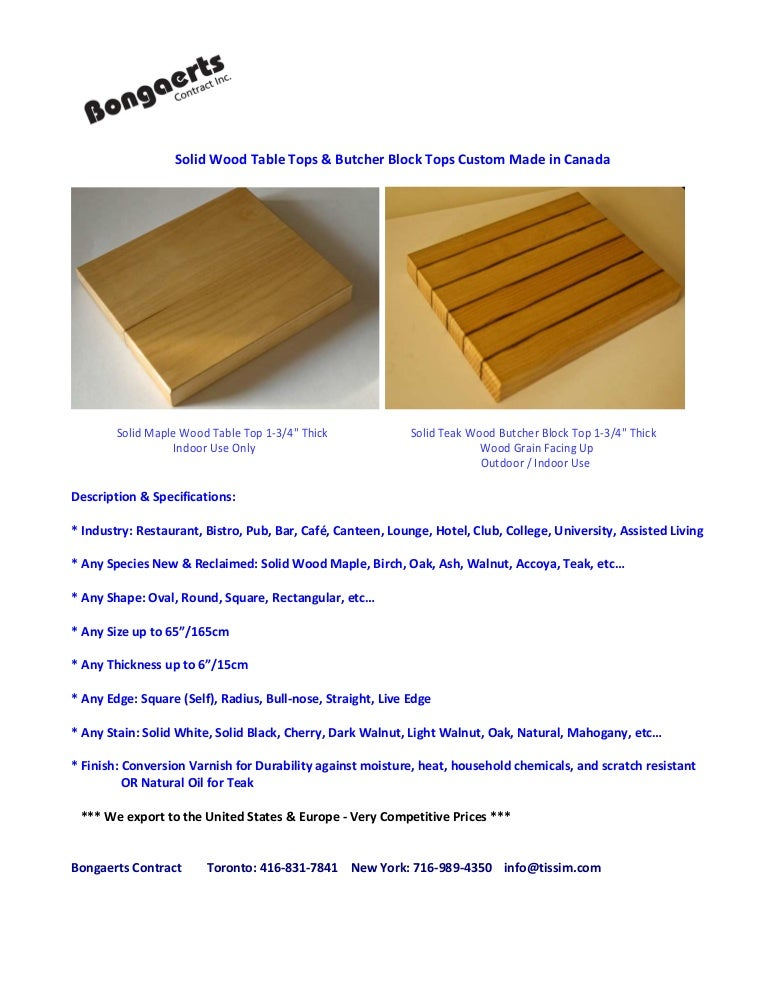 Solid Wood Table Tops Amp Butcher Block Tops Custom Made In