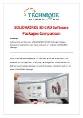 SOLIDWORKS 3D CAD Software Packages Comparison