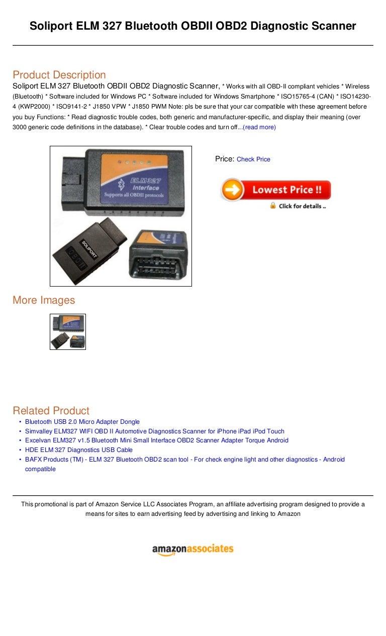 Soliport elm 327 bluetooth obdii obd2 diagnostic scanner