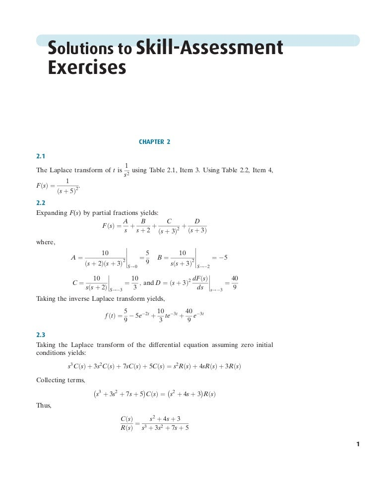 Solution Of Skill Assessment Control Systems Engineering By Norman S