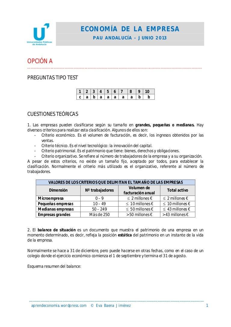 Solucionario PAU Economía Andalucía Junio 2013