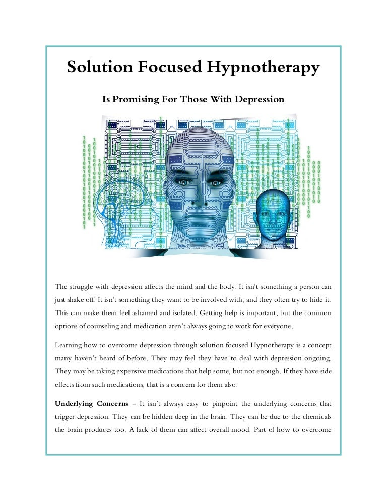 Solution focused hypnotherapy is promising for those with ...