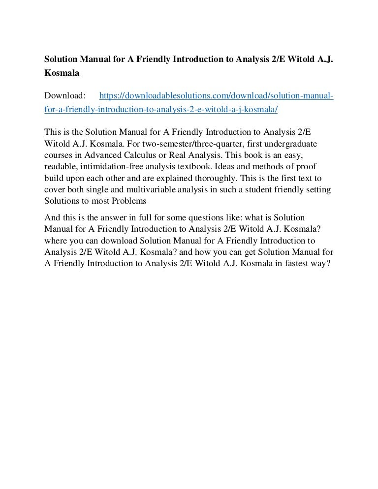Solution Manual for A Friendly Introduction to Analysis 2/E Witold A …