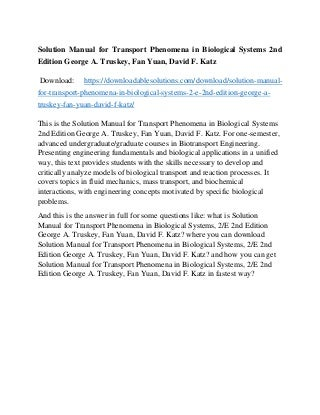 Basic Transport Phenomena in Biomedical Engineering - 4th ...
