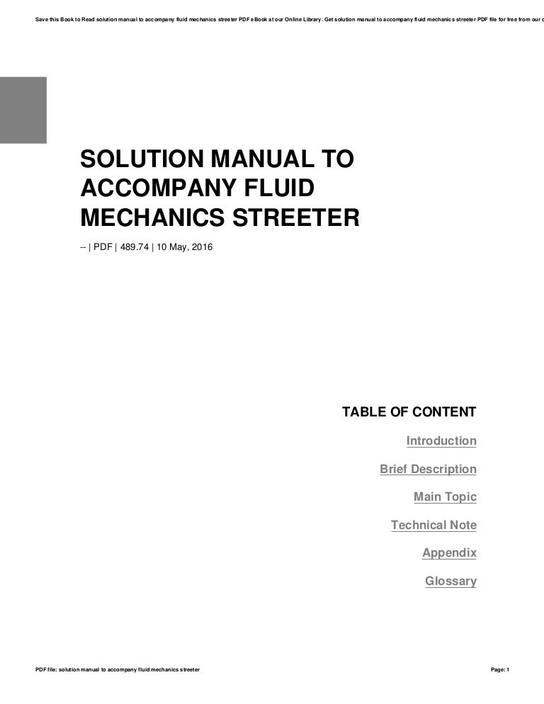 Solution manual to accompany fluid mechanics streeter