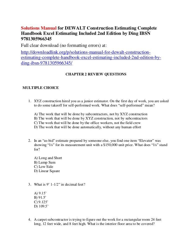 DEWALT Construction Estimating Complete Handbook Buildings ...