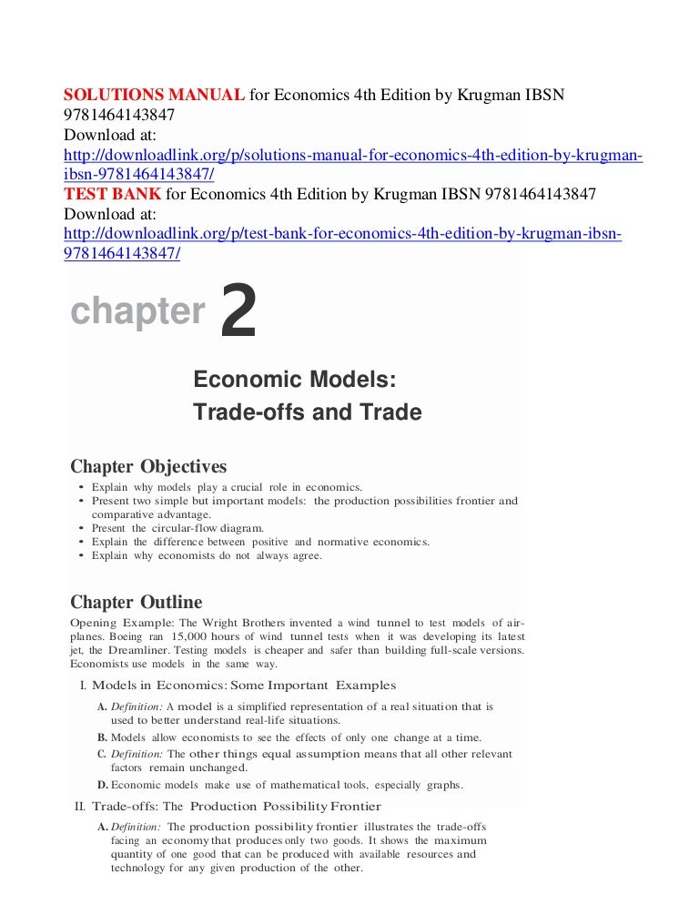 Solutions Manual For Economics 4th Edition By Krugman Ibsn 9781464143