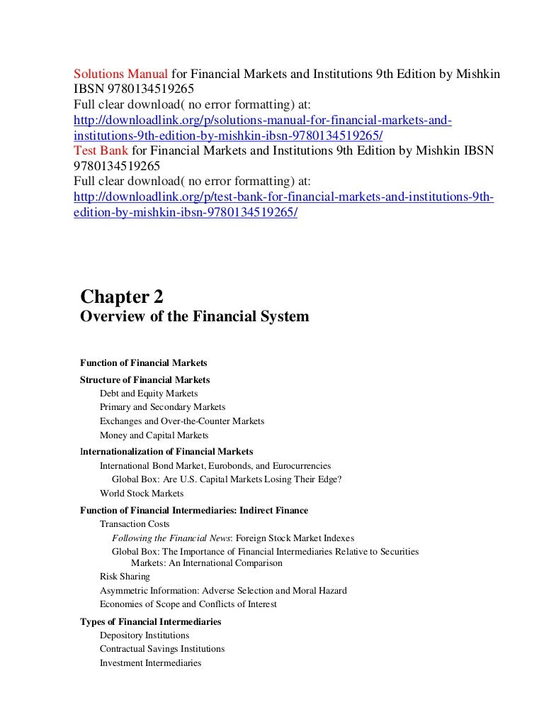 financial markets and institutions 7th edition pdf free download