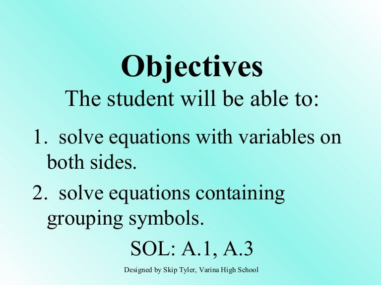 Solving Equations (multiple steps)