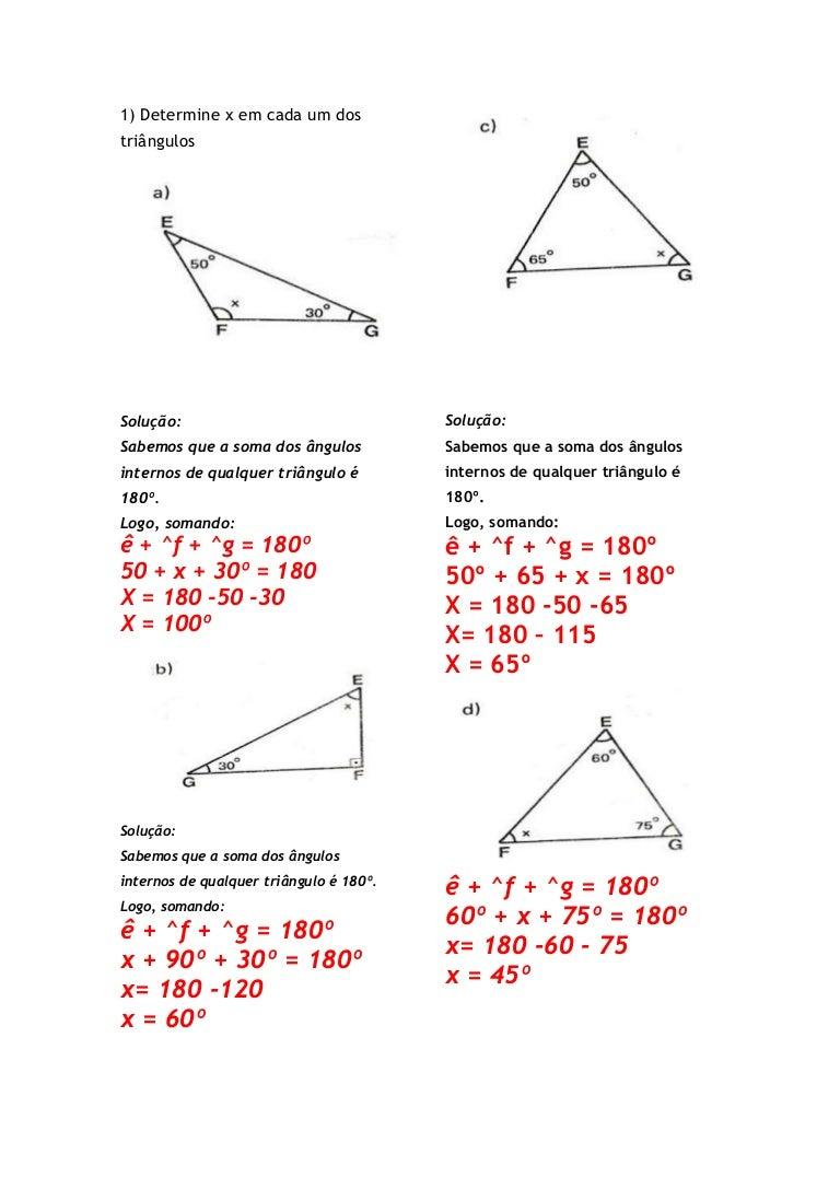 Soma dos ângulos internos de um triângulo gabarito