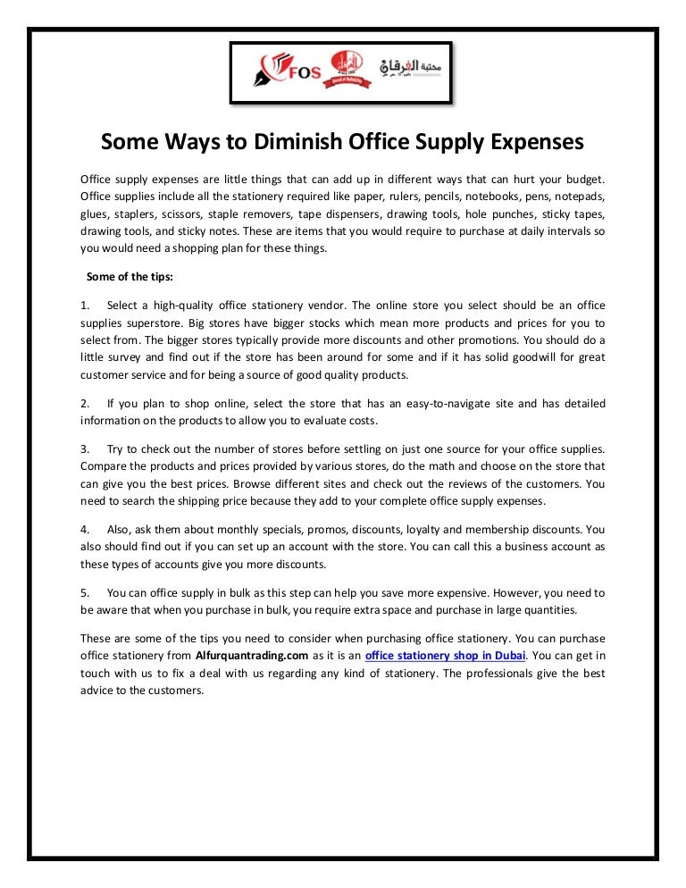 Some ways to diminish office supply expenses