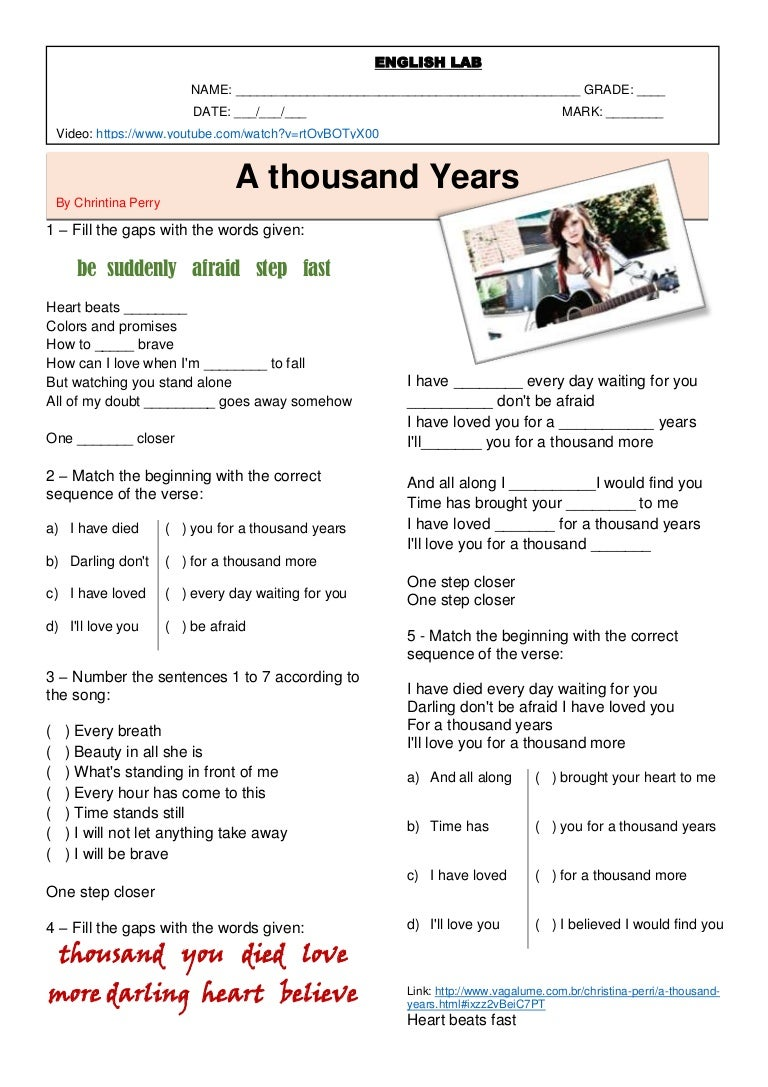 Song A thousand Years worksheet – Song Analysis Worksheet