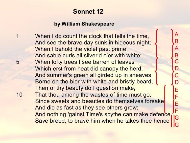 sonnet 12 iambic pentameter