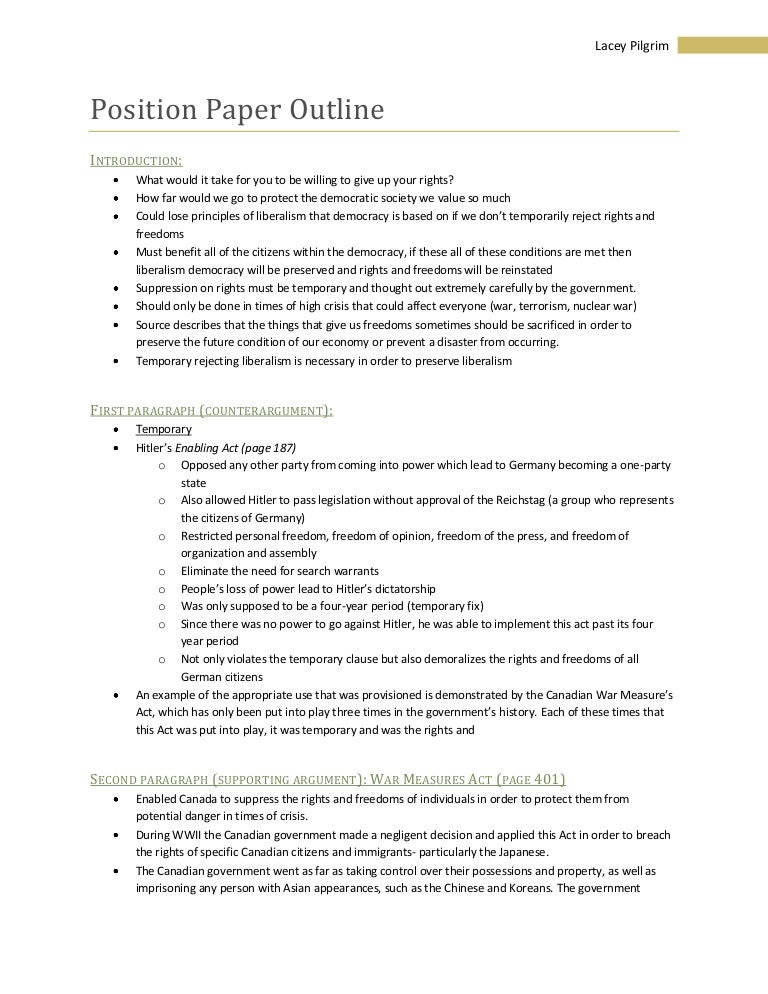 how to write a conclusion for a position paper