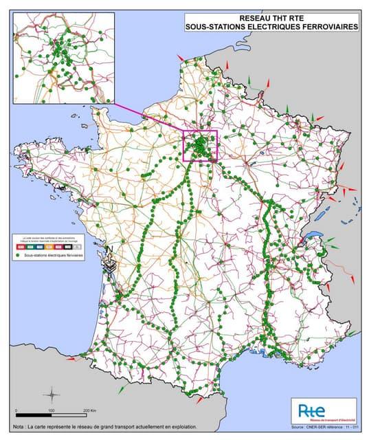 Sous-stations ferroviaires raccordees à RTE en France