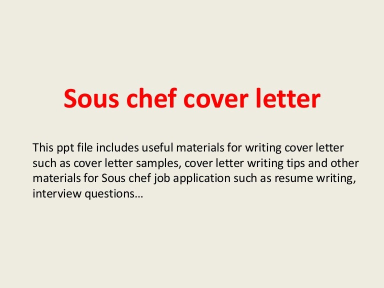 sous chef cover letters