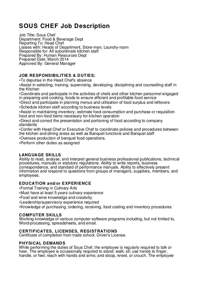 cover letter for chef job