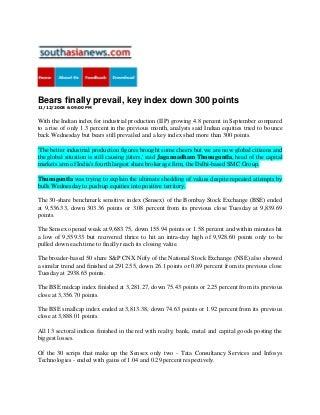 South Asia News Nov 12, 2008 Bears Finally Prevail, Key Index Down 300 Points