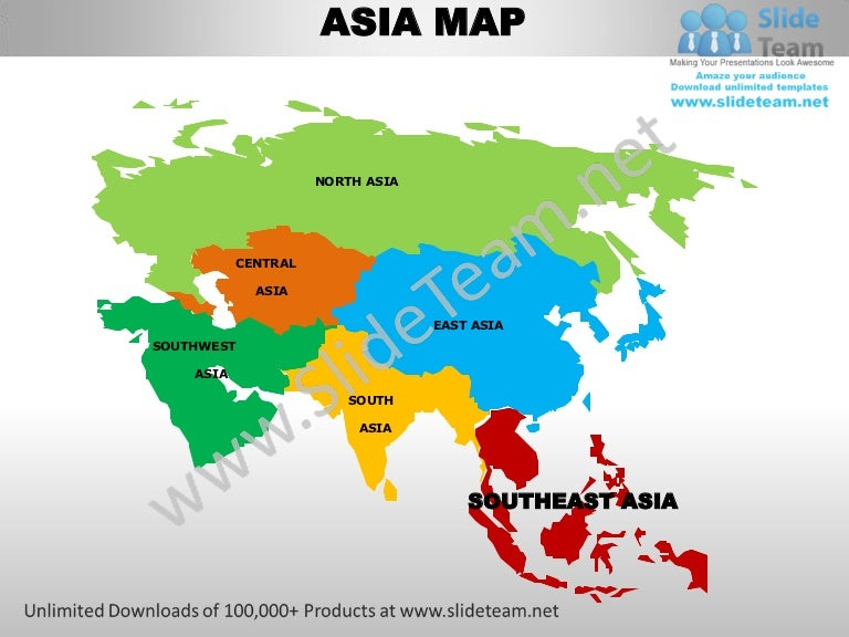 Countries Of Southeast Asia Map.South East Asia Powerpoint Editable Continent Map With Countries Temp