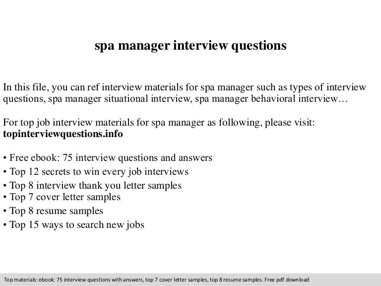 spa manager interview questions - Spa Manager Cover Letter