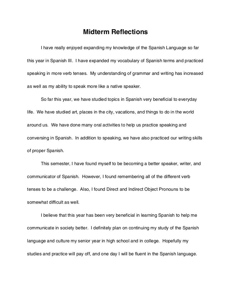 spanish midterm reflection essay - English Reflective Essay Example