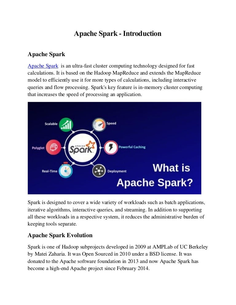 What Is In Spark >> Apache Spark Introduction