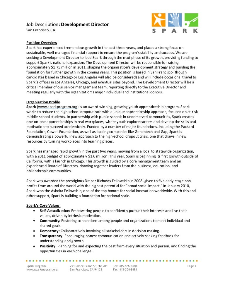 Spark Job Description Development Director