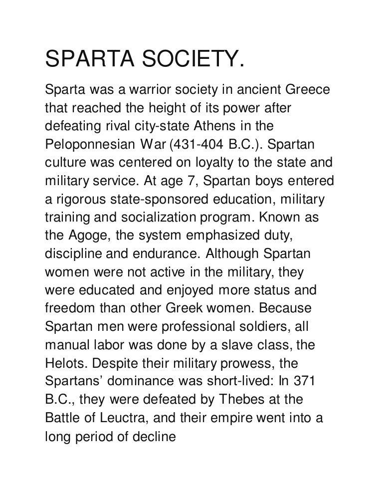 pros of spartan society
