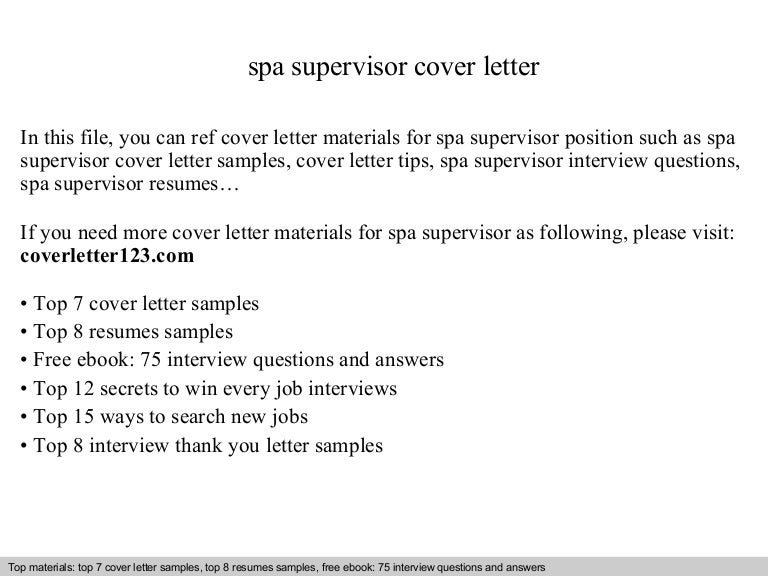spa supervisor cover letter - Spa Manager Cover Letter