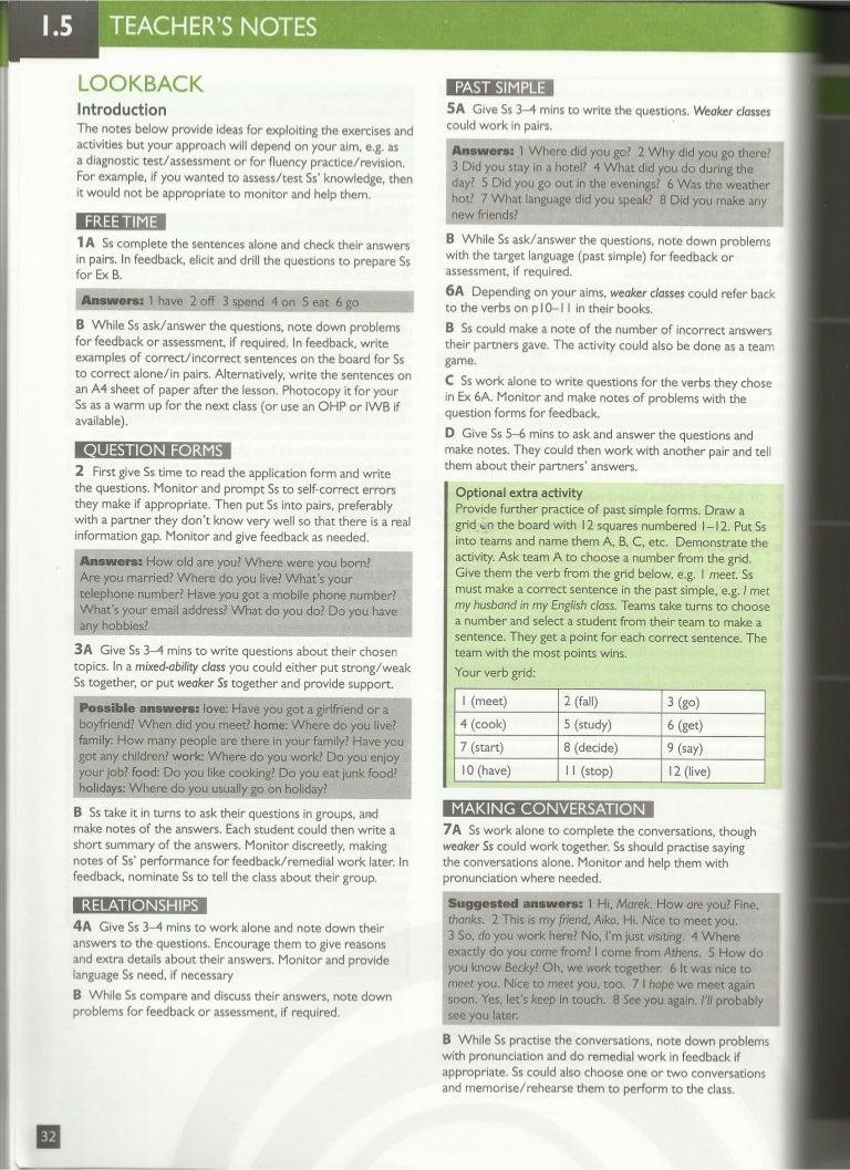Speak out pre intermediate section 1-5 key