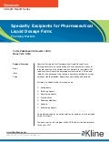 Specialty Excipients for Pharmaceutical Liquid Dosage Form - Brochure