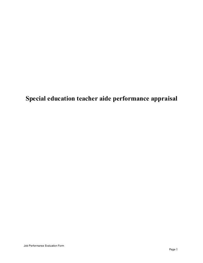 specialeducationteacheraideperformanceappraisal 150523085324 lva1 app6891 thumbnail 4jpgcb1432371244 teacher aides job description