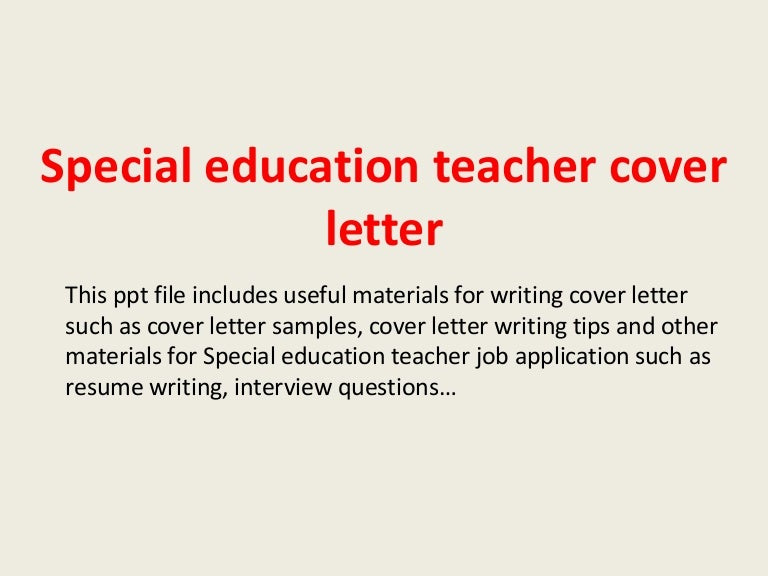 SlideShare  Sample Teacher Cover Letter