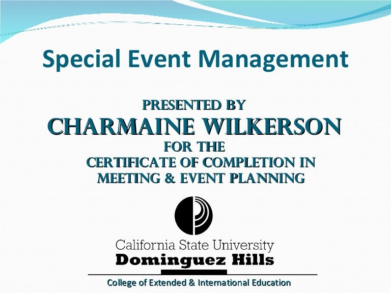 Special Event Management Slideshare