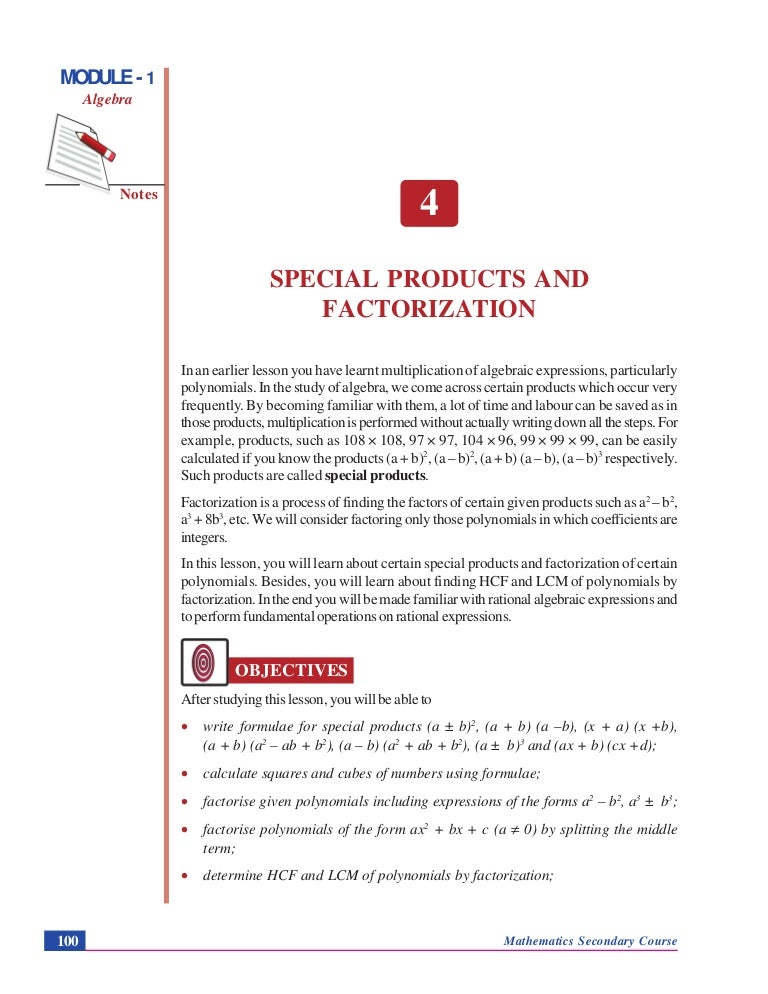 Special Products And Factorization Algebra