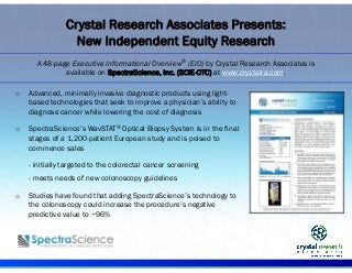 SpectraScience SCIE Executive Informational Overview PPT