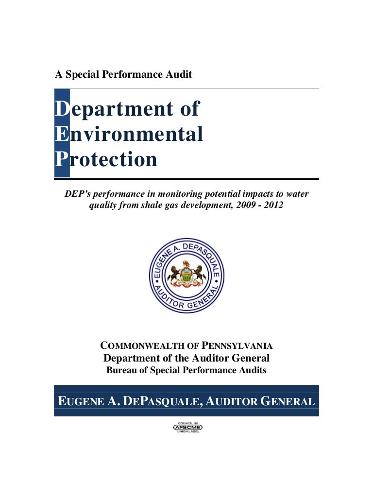 So-Called Performance Audit of the PA Dept  of Environmental