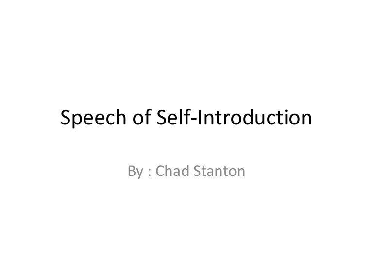 Speech Of Self Introduction Power Point