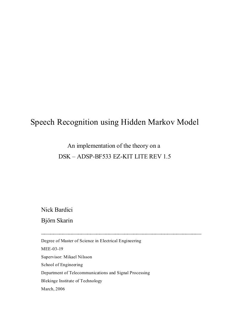 Speech Recognition Using Hidden Markov Model Mee 03 19 Block Diagram Of Procedures