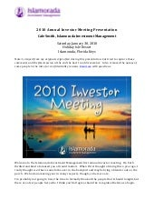 2010 IIM Investor Meeting Speech