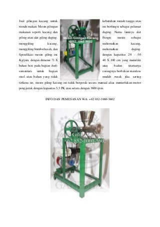 Terlengkap ! WA +62 852-1060-5602 Jual Cara Membuat Mesin Penggiling Janggel Jagung