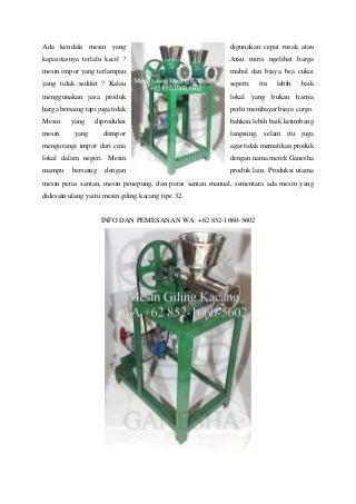 Terlengkap ! WA +62 852-1060-5602 Jual Cara Membuat Mesin Giling Kacang Tanah