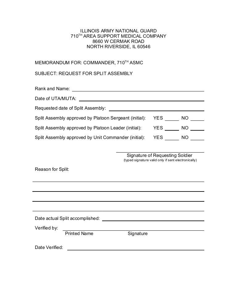 Split Request Form