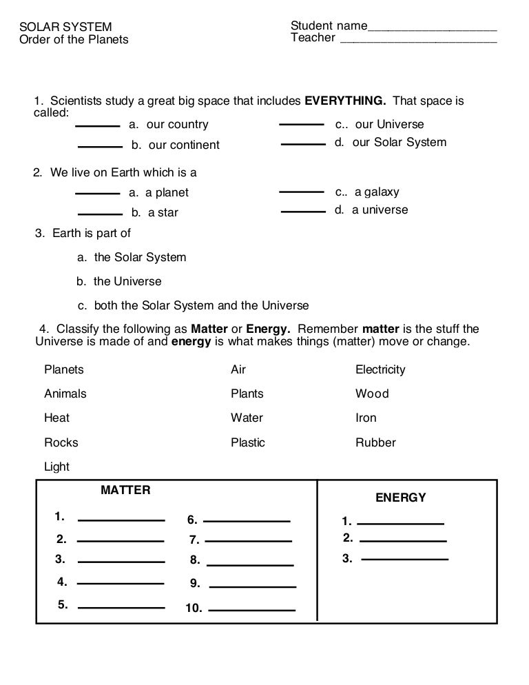Order Of The Planets Worksheet