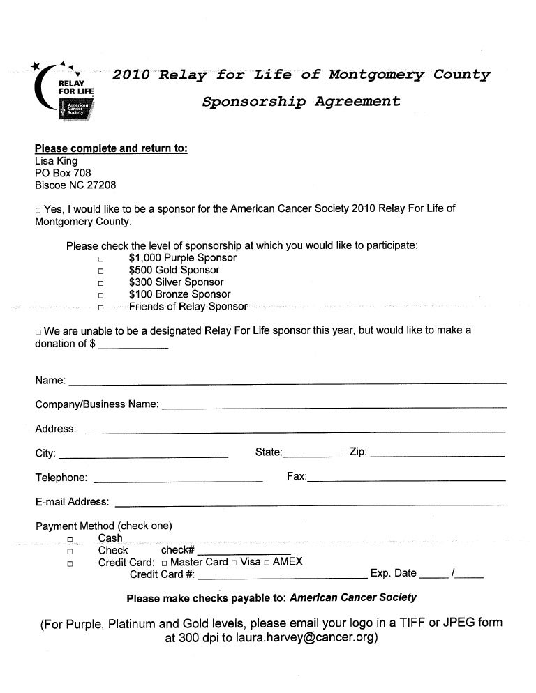 Sponsorship Agreement – Sponsor Agreement