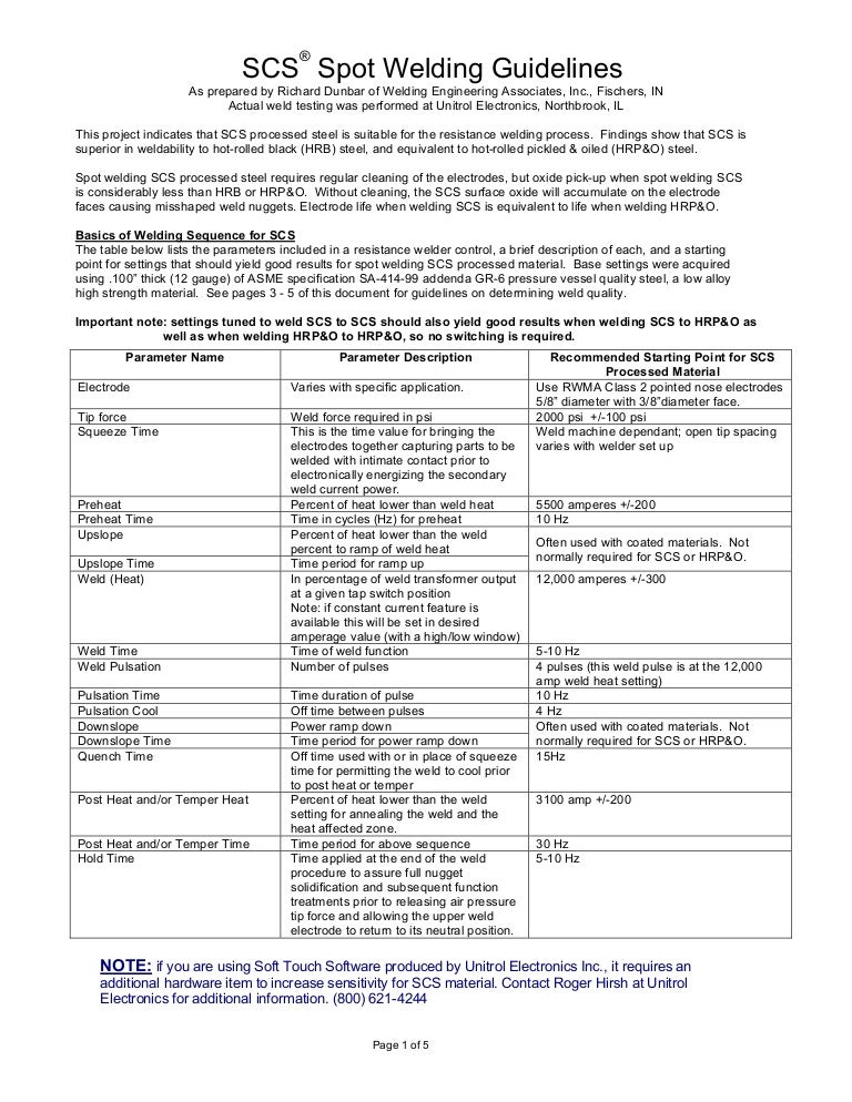 spot welding guidelines